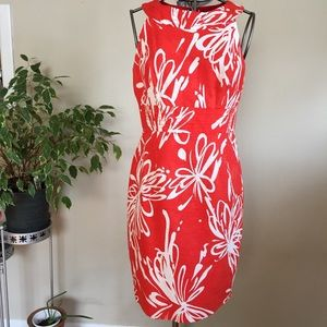 Muse Orange with white floral print dress